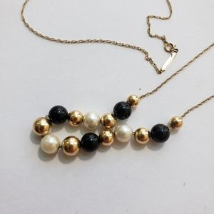 Vintage Add a Bead Gold Pearl Black Bead Necklace